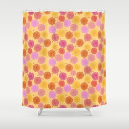 Hibiscus Hawaiian Flowers in Pinks and Corals on Yellow Shower Curtain