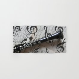 clef music notes white black clarinet Hand & Bath Towel
