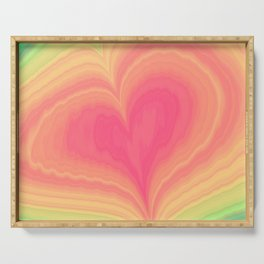Abstract Tropical Pastel Rainbow Heart Pattern | Valentine's Day Serving Tray
