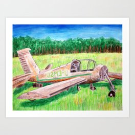 The Remains of a Plane Remain Mainly in a Plain Art Print
