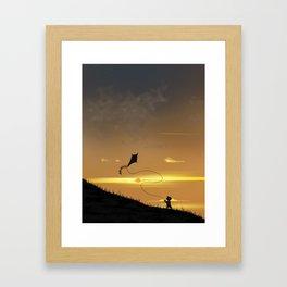 Kite-Flying at Sunset Framed Art Print