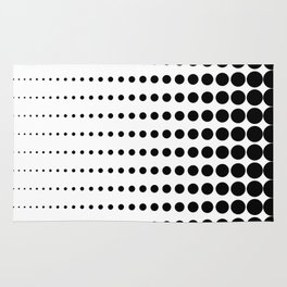 Reduced Black Polka Dots on Solid White Background Minimal Graphic Design Rug