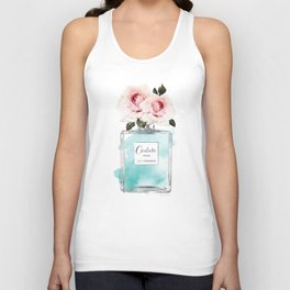 Perfume, watercolor, perfume bottle, with flowers, Teal, Silver, peonies, Fashion illustration, Unisex Tank Top