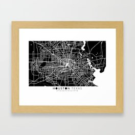 Houston Texas Map With Coordinates Framed Art Print