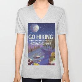 Go Hiking night travel poster Unisex V-Neck
