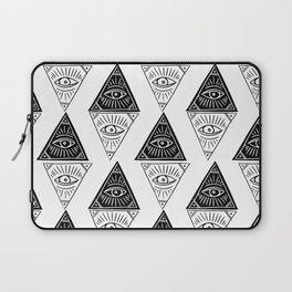 Linocut Pyramid eye black and white symbology pattern Laptop Sleeve