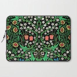 William Morris Jacobean Floral, Black Background Laptop Sleeve
