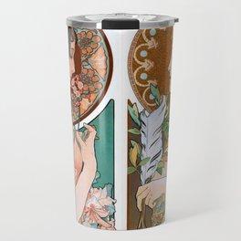 Alphonse Mucha Primrose and Feather Travel Mug