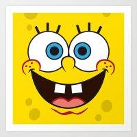 spongebob Art Prints featuring SpongeBob Face by julien tremeau