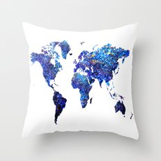 World Map blue purple Throw Pillow