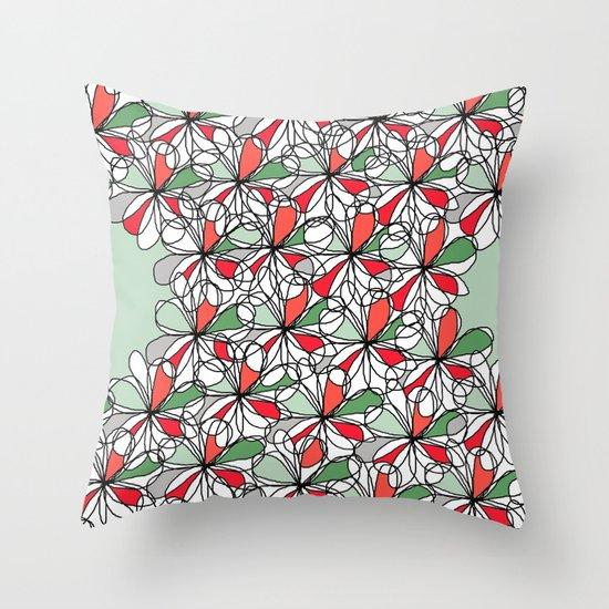 Xmas Floral Doodle Throw Pillow