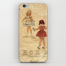Childrens Vintage Little Girls Play iPhone Skin