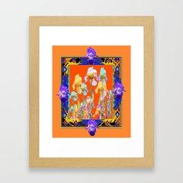 Ornate Cumin Color Purple Iris garden Design Framed Art Print