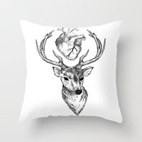 cargline Throw Pillows featuring Hipster Deer by cargline