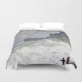 1883-Claude Monet-Rough weather at Étretat-65 x 81 Duvet Cover