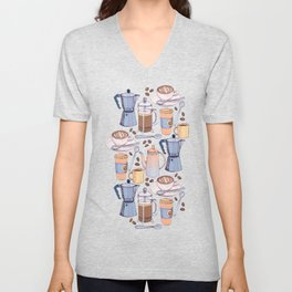 Coffee Love on Blue Unisex V-Neck