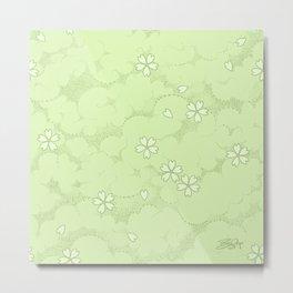 Kumori Nochi Sakura: Green Metal Print
