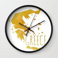 greece Wall Clocks featuring Greece by Stephanie Wittenburg