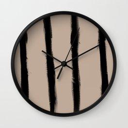 Medium Brush Strokes Vertical Black on Nude Wall Clock