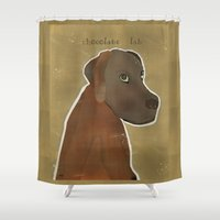 lab Shower Curtains featuring chocolate lab by bri.buckley