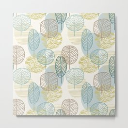 Abstract Modern Sketched Botanical Print No. 3 Metal Print