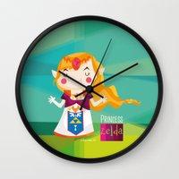 zelda Wall Clocks featuring Zelda by suupergirl