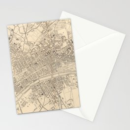 Vintage Map of Glasgow Scotland (1851) Stationery Cards