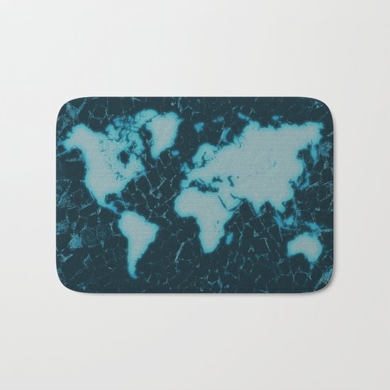World Map TV Bath Mat