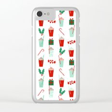 Minimal christmas peppermint latte christmas coffee cafe kitchen foodie pattern print mistletoe Clear iPhone Case