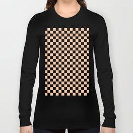 Black and Deep Peach Orange Checkerboard Long Sleeve T-shirt