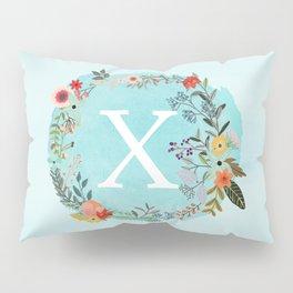 Personalized Monogram Initial Letter X Blue Watercolor Flower Wreath Artwork Pillow Sham