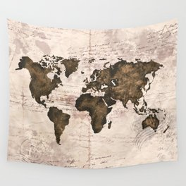 Coffee World Map Wall Tapestry