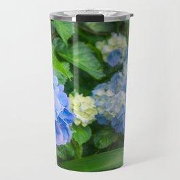 Blue and Yellow Hortensia Flowers Travel Mug