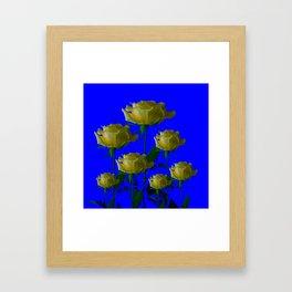 IVORY WHITE LONG STEMMED ROSES ON BLUE Framed Art Print