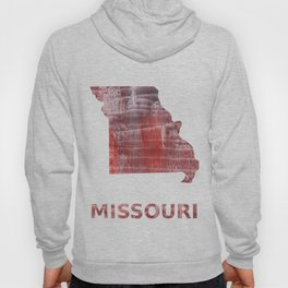 Missouri map outline Striped red watercolor design Hoody