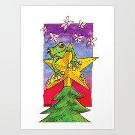 Christmas Star Frog Art Print