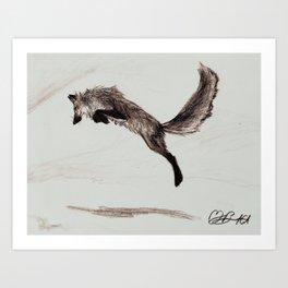 Fox in Flight Art Print