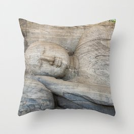 Reclining Buddha, Polonnaruwa, Sri Lanka Throw Pillow