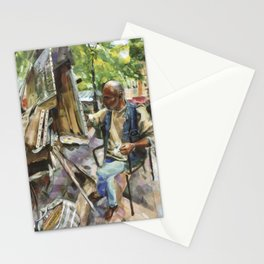 M. Mohwa adds the finishing touches as tourists pass by - Montmarte, Paris Stationery Cards