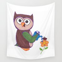 cartoon Wall Tapestries featuring Cartoon Owl by Mother Universe