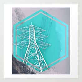 Powerlines in the Mountain Sky Art Print