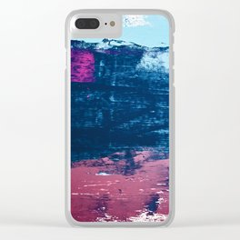 Early Bird [2]: A vibrant minimal abstract piece in blues and pink by Alyssa Hamilton Art Clear iPhone Case
