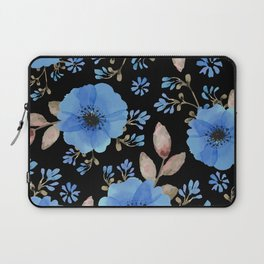 Blue flowers with black Laptop Sleeve