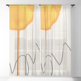 Yellow modern art, contemporary art print, abstract wall art print, yellow art, home decor Sheer Curtain