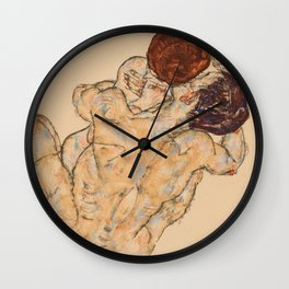 """Egon Schiele """"Mann und Frau, Umarmung"""" Wall Clock"""