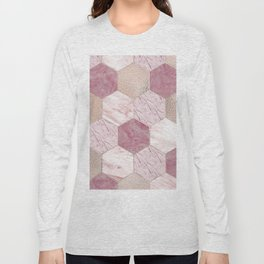 Carnation pink rose gold foil - marble hexagons Long Sleeve T-shirt