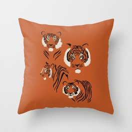 Tigers on Rust Throw Pillow