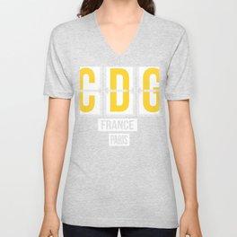 CDG - Charles de Gaulle Airport Paris France Airport Code Souvenir or Gift Design  Unisex V-Neck