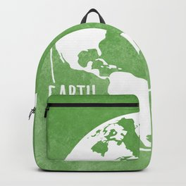 Earth Matters - Earth Day - White Outline On Green Grunge 01 Backpack