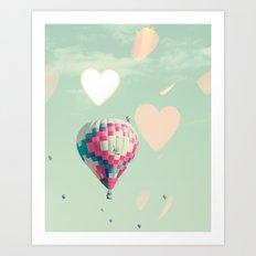 Hot air balloons nursery and heart bokeh on pale blue Art Print